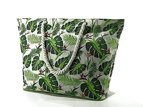 Kasahome Bolso de hombro mini maleta de playa viaje carrera modelo Jungle Botanic con cremallera con hojas verdes, capacidad 40 x 19 x 59 cm
