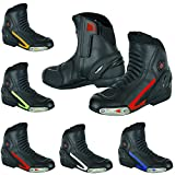 Best Motorcycle Boots - Real Leather Men's motorcycle Short racing shoes high Review
