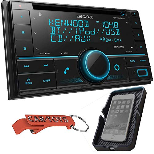 Kenwood DPX504BT Double DIN in-Dash CD Receiver and Wireless Qi Universal Phone Charger Bundle - Bluetooth CD Car Stereo with Alexa Voice Control | High-Contrast 3-line Display with Variable Colors