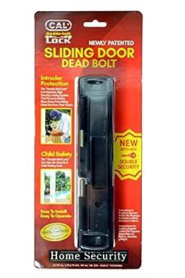 CAL Lock Smart Bolt Lock Sliding Door Latch Heavy Duty Steel Surface Double Security Pin Locking Hitch Black