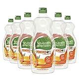 Seventh Generation Dish Liquid Soap, Clementine Zest & Lemongrass Scent, 25 Oz, Pack of 6