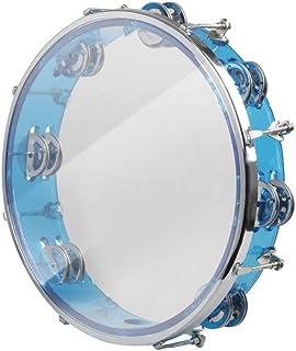 BOM Tamborine Hand Bell Drum Double Row Jingles Music کوبه ای قرمز آبی (آبی)