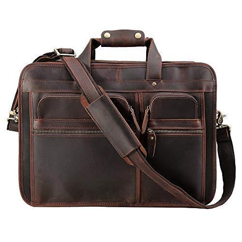 Tiding Men's Leather Briefcase Messenger Bag 17 Inch Laptop Shoulder Bag Business Attache Case with YKK Zipper - Dark Brown