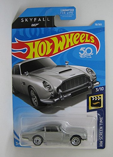 Hot Wheels 2018 50th Anniversary HW Screen Time James Bond 007 Skyfall Aston Martin 1963 DBS 78/365, Silver