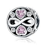Abalorio de plata de ley 925con corazones de circonita y símbolo del infinito compatible con pulseras europeas