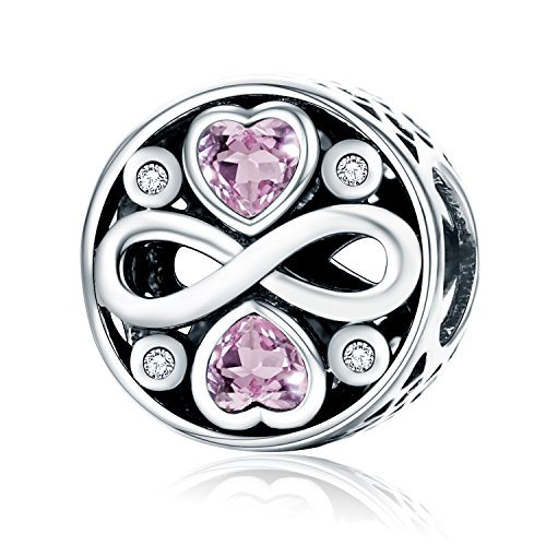 Pendentif en argent sterling 925 en forme de cœur avec zircone rose - Compatible avec les bracelets européens