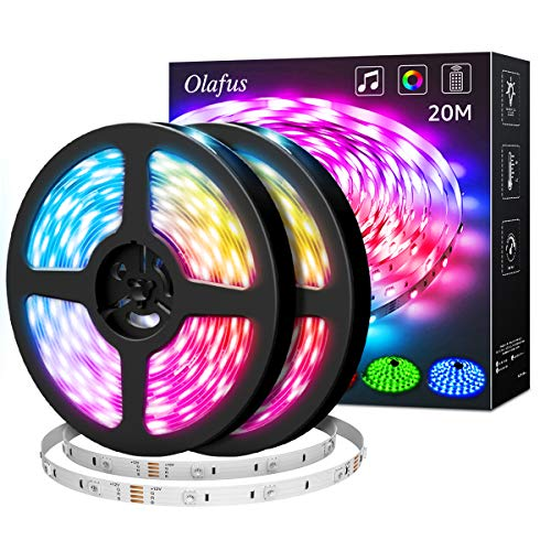 Olafus 20M RGB LED Streifen Musik Synch, LED Strip mit Fernbedienung, Farbwechsel Dimmbar Lichterkette 600er 5050 LEDs Lichtband Anwendung für Schlafzimmer, Party und Feriendekoration