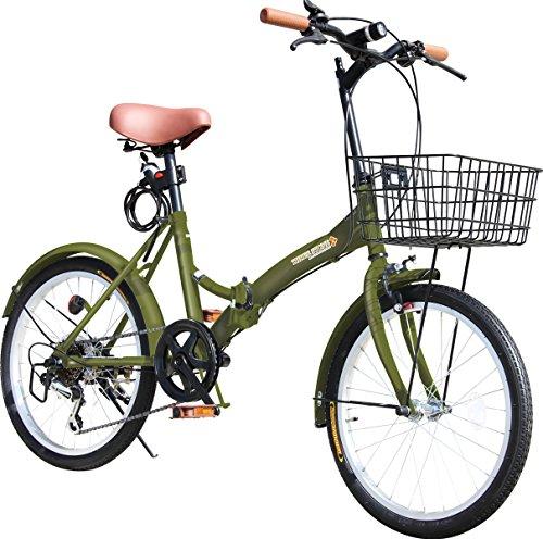 折りたたみ自転車 20インチ P-008 カゴ・フロントLEDライト・ワイヤーロック錠付き シマノ6段変速ギア 折り畳み自転車 小径車 ミニベロ PL保険加入 (カーキ)