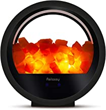 Himalayan Salt Lamp, Relassy Pink Salt Lamp Night Light Bluetooth Speaker with Dimmer, Natural Sea Rock Salt Lamps with 2 Extra Bulbs for Home Decor, Holiday Gift(Black)