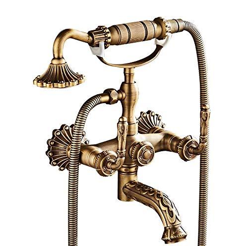 LOHOX badkamer douchekop douchekop met slang mixer traditionele douche en bad kraan chroom messing geschikt voor mannen, vrouwen, kinderen en huisdieren