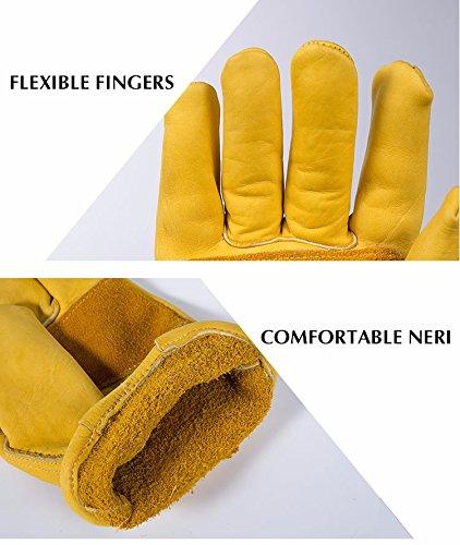 Paire de gants de travail en cuir BearHoHo - Pour hommes - Avec serrage de poignet à balle et ruban adhésif - En fibre de peau de vache, jaune