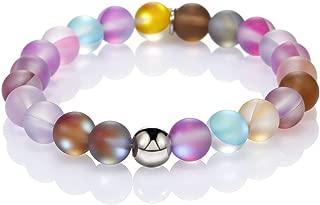 8MM Mystic Mermaid Glass Beaded Stretch Bracelet Shimmer Beads Glowing Aura Charm Beaded Couples Bracelets for Women