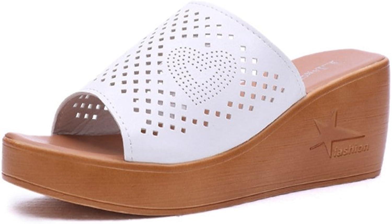 T-JULY Womens Ladies Wedge Platform High Heel Slides Sandals Leather Slippers Peep Toe Slip on Dress Slippers