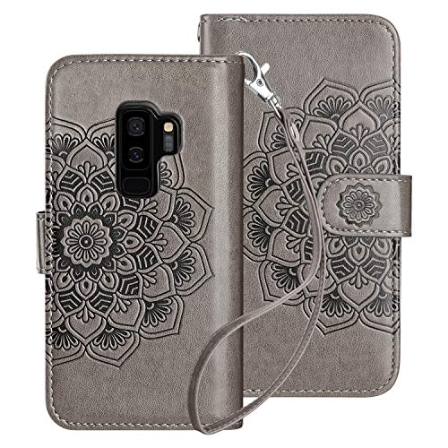 HianDier Case for Galaxy S9 Plus Wallet Cases with Card Holder 9 Slots Detachable PU Leather Flip Cover Shockproof Magnetic Clasp Lanyard Dual Layer Case for Samsung Galaxy S9 Plus, Mandala Gray