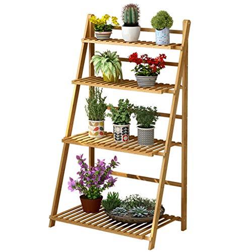 G-HJLXYZWJHOME Opvouwbaar multifunctioneel systeem van bamboeframe, bloemenstaandstelling, boekenrek, natuurlijk boekenrek voor binnen