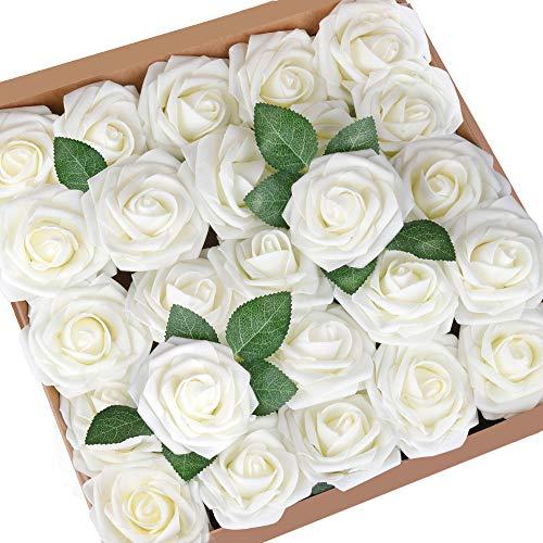 Mocoosy 50Pcs künstliche Rosenblüten, echt aussehende Elfenbein gefälschte Schaumrosen Bulk mit Stiel für Hochzeitssträuße Mittelstücke Brautdusche Home Party DIY Blumenarrangements Dekorationen