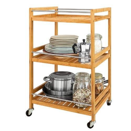 SoBuy FKW11-N Küchenwagen mit 3 Ablagen Servierwagen für Küche Badrollwagen aus Bambus BHT: ca. 46x76x38cm