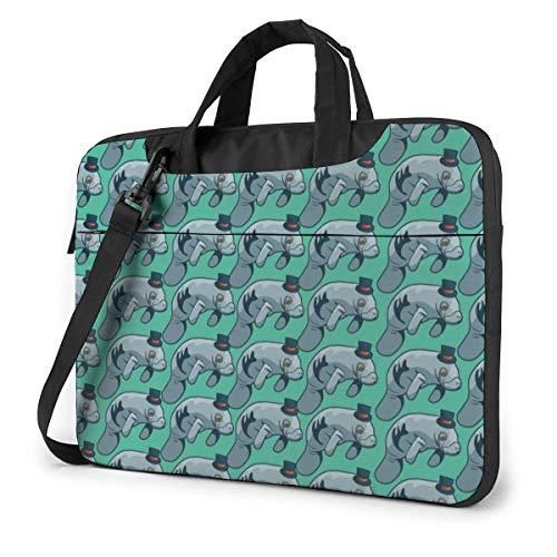 Bolso de Hombro para computadora portátil Gentleman Dugong Compatible con Bolso de Transporte para computadora portátil de 13-15.6 Pulgadas con Correa,