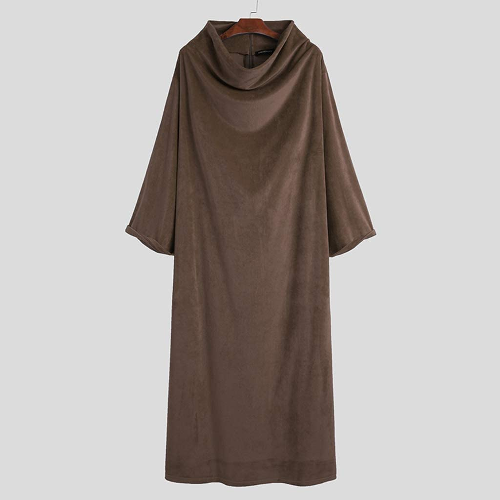 XJJZS Men Fleece Robes Long Sleeve Homewear Solid Turtleneck Nightgown Comfortable Leisure Loose Soft Warm Men Bathrobes S-5XL (Color : Brown, Size : Small)