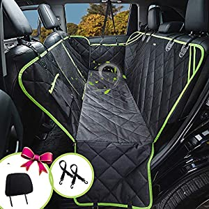 Dog Car Seat Covers, Dog Car Hammock with Mesh Window, Heavy Duty Car Seat Covers for Dogs,100% Waterproof Anti-Slip 600D Oxford Cloth Dog Seat Cover for Back Seat