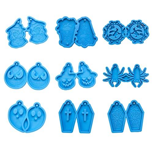 JIUYECAO Molde de silicona para pendientes de Halloween, juego de 9 piezas, pendientes de Halloween, molde de resina epoxi, ideal para el oído, colgante de silicona