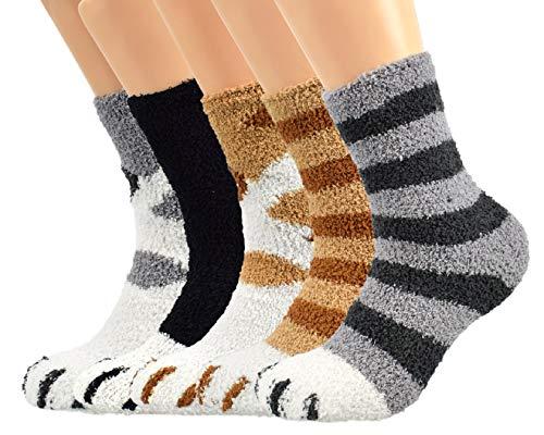 Tuopuda Katzenpfoten Socken Lustige Socken 5/6 Paar Weihnachtssocken Unisex Witzig Socken Niedlich Tiere Karikatur Socken Winter Warme Mittelrohr Socken Weihnachten Geschenke für Frauen Männer