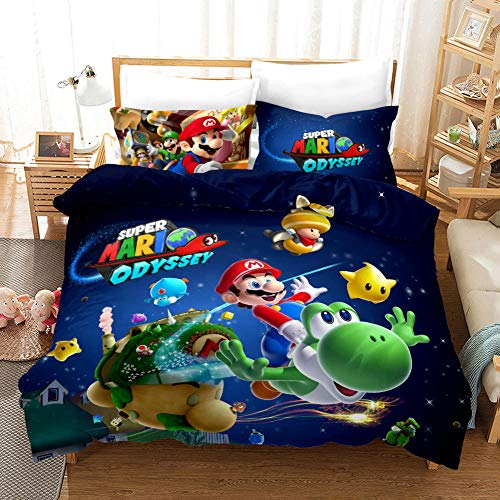 GuoDamei Duvet Cover 200x200 cm Super Mario 3 Pcs Bedding Double Bed Set with Zipper Closure 1 Microfiber Quilt Cover and 2 Pillowcases 50x75 cm Ultra Soft Hypoallergenic