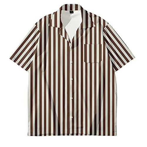 Camisa Hawaiana,Camisa Hawaiana con Botones Hawaianos De Manga Corta para Hombre, Camisetas con Estampado 3D A Rayas De Moda, Casual, De Secado Rápido, Manga Corta, Verano, Vacaciones, Fiesta, Cami