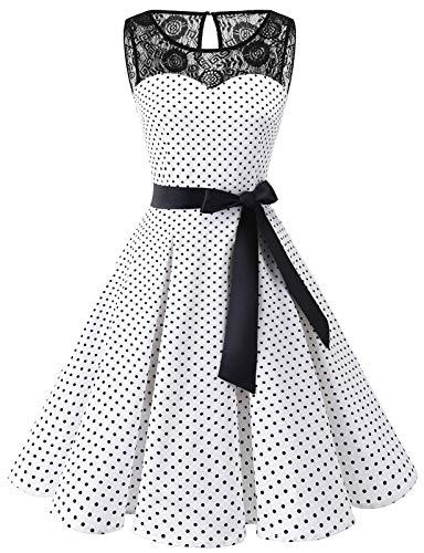 bbonlinedress 1950er Ärmellos Vintage Retro Spitzenkleid Rundhals Abendkleid White Black Dot 3XL