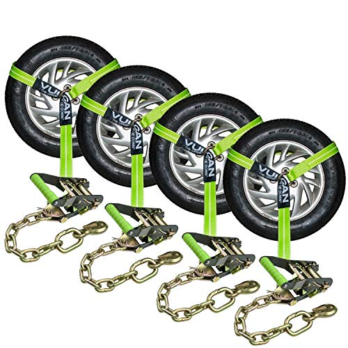 VULCAN Lasso Auto Tie Down with Chain Anchors - 2 Inch x 96 Inch, 4 Pack - High-Viz - 3,300 Pound Safe Working Load