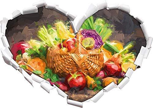 3D Pegatinas de pared Frutas y verduras frescas en la cesta Efecto de pincel artístico en forma de corazón en apariencia 3D Adhesivo de pared o puerta Adhesivo de pared Decoración de pared 92x64cm