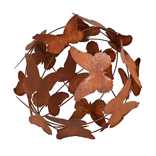 RM E-Commerce Gartendeko Rost Kugel Schmetterlinge, Gartenkugel Edelrost, Deko Metallkugel Rostoptik, Dekokugel (29 cm)