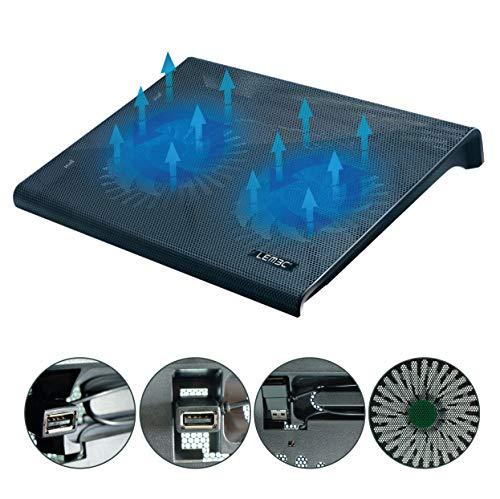 LEMEC. Base de refrigeración para PC Portátil. Iluminación LED Color Azul. Soporte para portátiles de 10