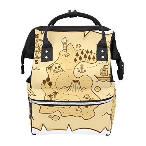 Bolsa de viaje de pañales dibujada a mano pirata mapa del tesoro multifunción bolsa de viaje mochila funcional escuela bolsa para mujeres hombres