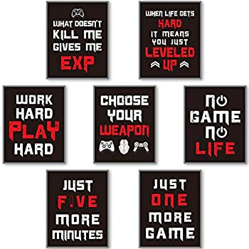 7 Pieces Gaming Art Prints Gaming Posters for Gamer Room Decor Video Game Gamer Wall Decor for Men Boys Kids Playroom Bedroom Home Decoration Man Cave Unframed  Black and White
