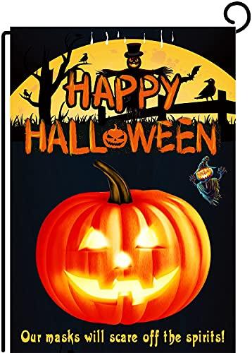 Naskitto Halloween Garden Flag Double Sided Halloween Flag,Ghostly pumpkin Vertical Burlap Patio for Outdoor Decoration 12.5x18Inch