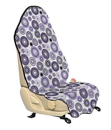 ABAKUHAUS Paars en Zwart Beschermhoes voor autostoelen, Mandala, met Antislip Achterkant, Universele Maat, 75 x 145 cm, Violet Zwart Wit