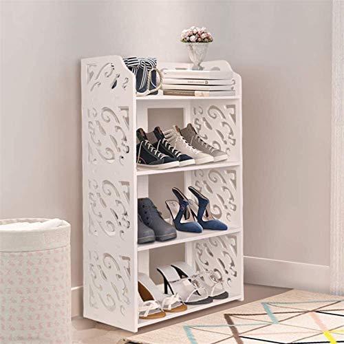 Zapatos Organizador Gabinete, 4 Niveles Tallera de Zapatos Blancos, Zapatos de pie Zapatos de pie Soporte de Zapatos Organizador Unidad Librería Pantalla Soporte para Entrada Dormitorio