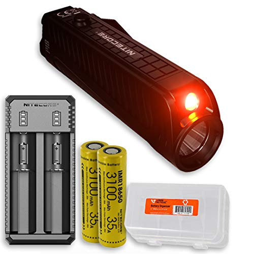 Nitecore P18 1800 Lumen Compact Flashlight with Silent Tactical Switch and Auxiliary Red LED with 2 Rechargeable Batteries, Battery Charger and LumenTac Battery Organizer