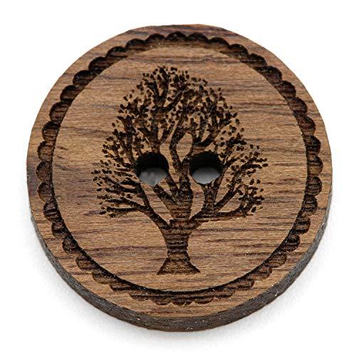 Cofanetto in legno naturale con bottoni incisi motivo 12 – 30 mm I 25 pezzi noce 2 fori bottoni in legno fai da te fai da te cucito creazione gioielli cucire rotondo, Legno, Albero della vita., 25 mm