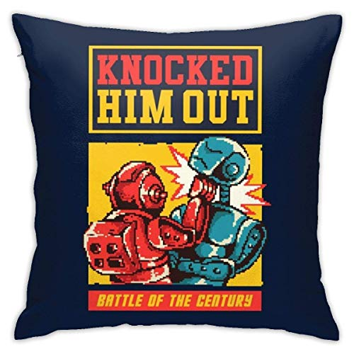 Rockem Sockem Robots Knock out Pixel Art Pillowcase, Double-Sided Printing, Hidden Zip Pillowcase, Beautiful Printed Pattern Pillowcase 18X18INCHES