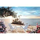 油絵 数字キットによる絵画 大人 子供と初心者 沿岸ラウンジチェア キットによる絵画 塗り絵 手塗り DIY絵 デジタル油絵 40x50センチ (フレームレス)