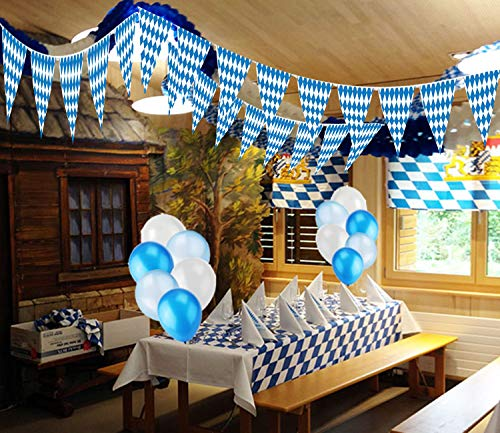 Oktoberfest Party Dekorationen,Oktoberfest Wimpel Girlande Bayern 10m/Oktoberfest feiert Feiertage Tischdecke/blaue & weiße Luftballons