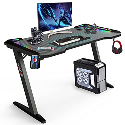 VIKOVCIM Gaming Desk with Led Lights, Z-Shaped PC Gaming Computer Desk with Cup Holder and Headphone Hook Holder, Ergonomic Racing Table for Home Office writing workstation (Black, Z-shaped)
