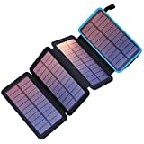Pealiker Solar Charger 25000mAh Portable Solar Power Bank with 4 Solar Panels Waterproof Battery Pack with LED Lights for iPhone HUAWEI iPad Samsung and More Camping Travel