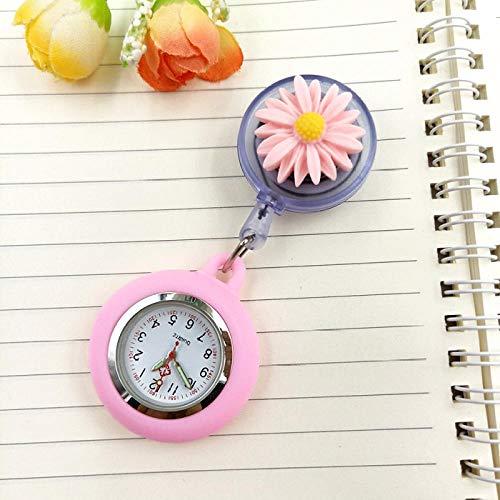 Cxypeng Fashion Style Nurse Pocket Watch,Daisy flower nurse watch, retractable watch chest watch exam pocket watch-GG,Tunic Brooch Pocket Watch