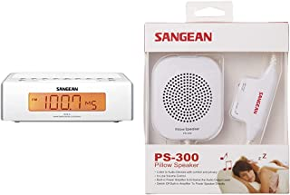 Sangean RCR-5 Digital AM/FM Alarm Clock Radio & Speaker with in-line Volume Control and Amplifier (White)