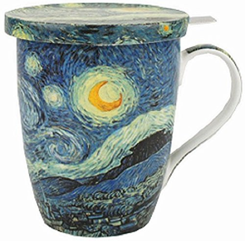McIntosh Old Masters Vincent van Gogh Starry Night Fine China Tea Mug with Infuser and Lid (MC020088)
