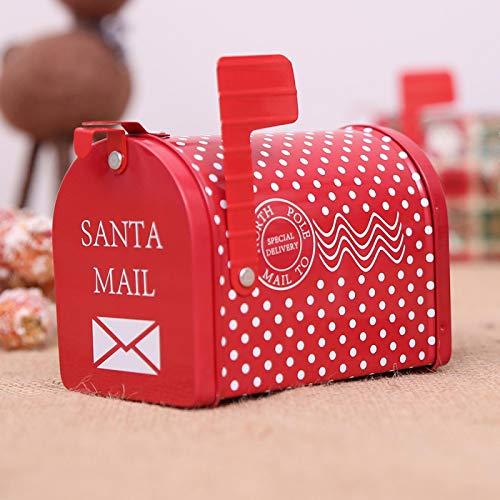 EVENN - Caja de regalo para dulces de Navidad, caja de almacenamiento de hierro, buzón de correo, adornos de Navidad, patrón creatividad, decoraciones de Navidad para el hogar B
