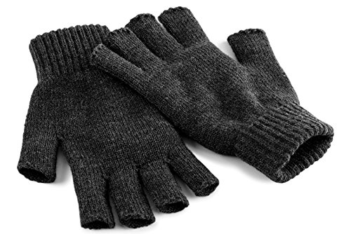 Beechfield Fingerless Gloves Charcoal L/XL Gants pour Temps Froid, Charbon, Homme